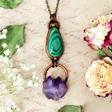 Load image into Gallery viewer, Electroformed Malachite Cabochon and Amethyst Cluster Pendant with Bronze Chain - The Steampunk Butterfly