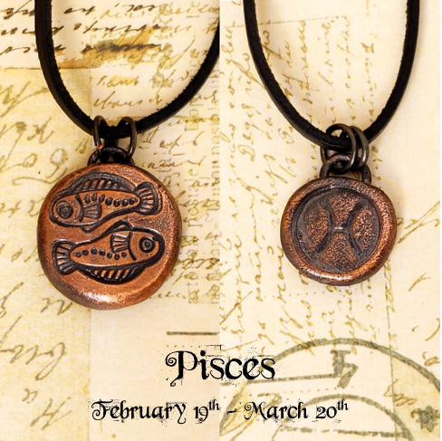 Zodiac and Horoscope Charm Necklace - Pisces - The Steampunk Butterfly