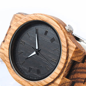 face of hand crafted gingerbread wooden watch
