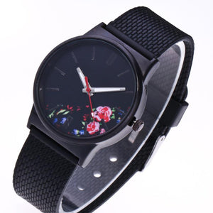 side of floral minimalist watch