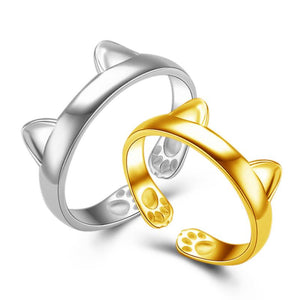 Gold & Silver Cat Ears Ring