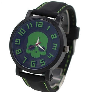 Forest Green Silicone Skull Watch