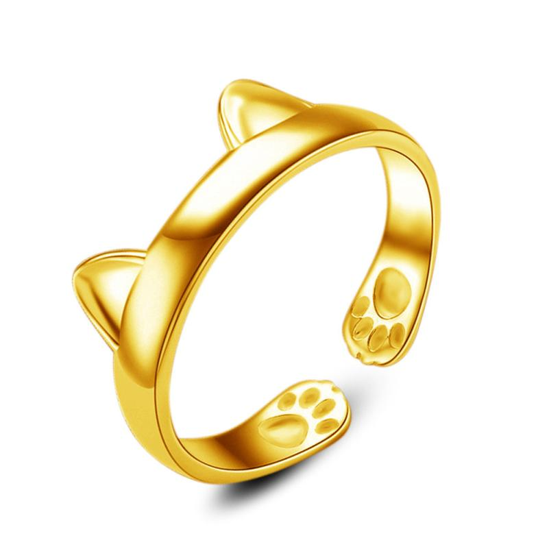 18K Yellow Gold Cat Ears Ring