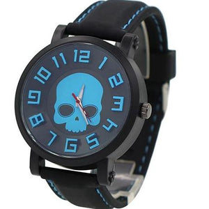 Electric Blue Silicone Skull Watch