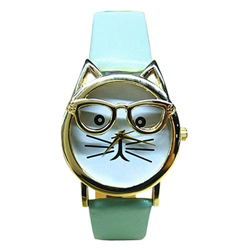 Mint Green Cat Glasses Watch