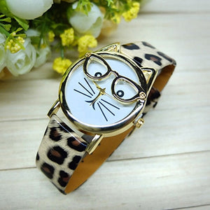 Leopard Cat Glasses Watch