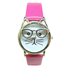 Load image into Gallery viewer, Rose Red Cat Glasses Watch