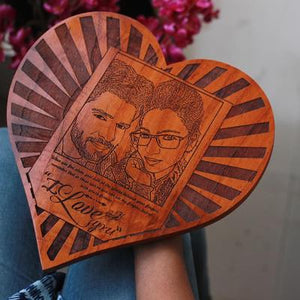 HEART-SHAPED WOODEN POSTER