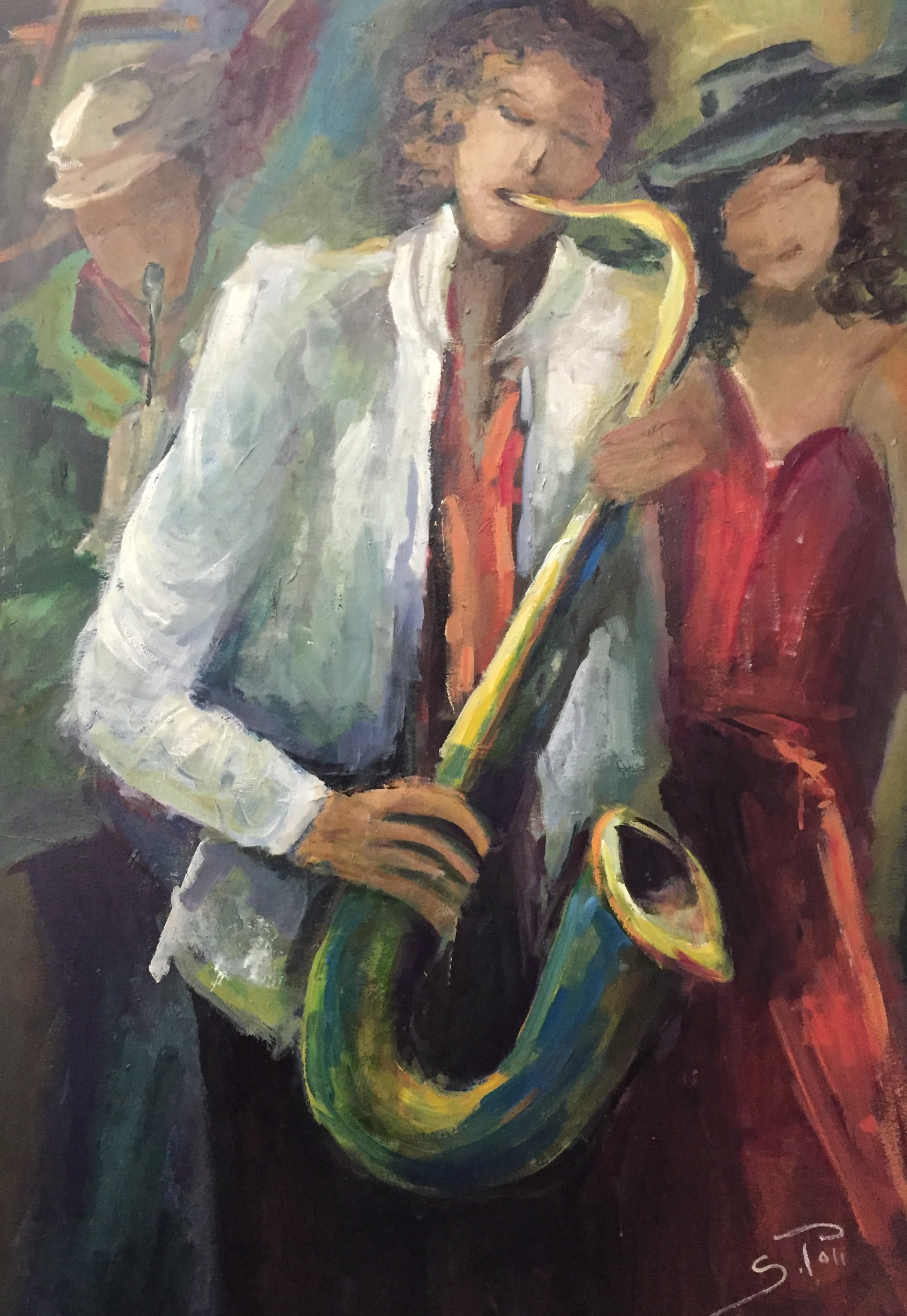 JAZZ BAND AND WOMAN IN RED