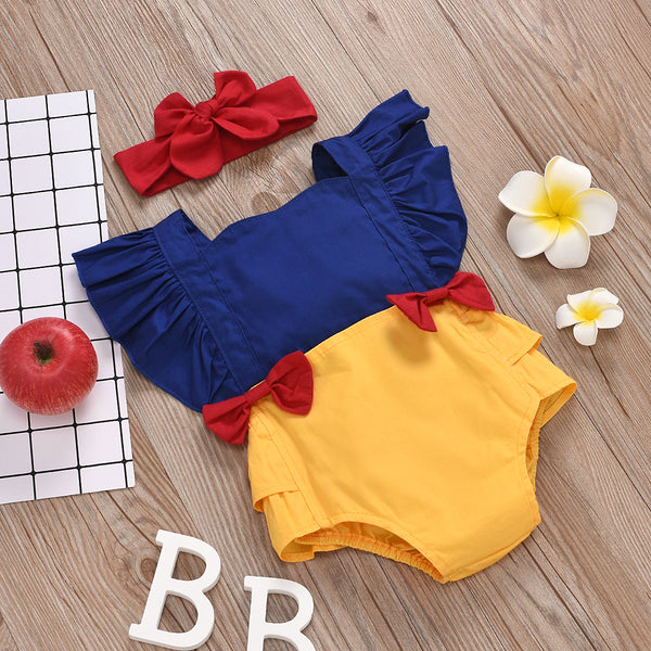 Summer Infant Baby Girls Rompers Ruffles Short Sleeve Bowknot Overalls Jumpsuits Headband 2pcs