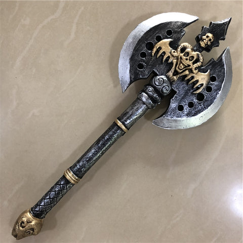 1:1 Cosplay Knight Orc Double-edged Black Axe Movie Game Anime Weapon Prop Role Play PU Action Figure Model Halloween Gift