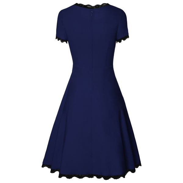 Women Elegant Sheath Dress Solid Colored Patchwork High Waist Red Navy Blue Lace Up Ball Gown Dresses