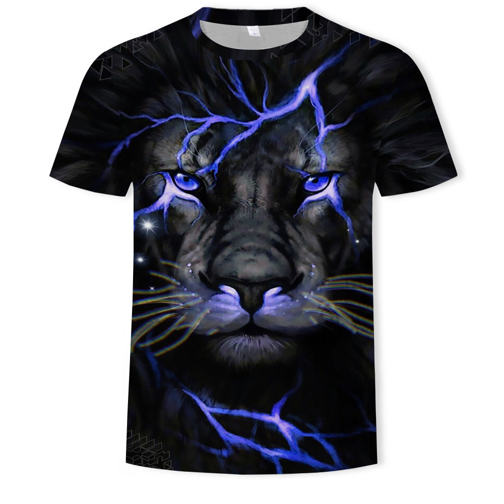 Men's T-shirt - 3D / Animal Print Round Neck Black
