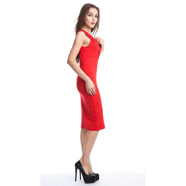 Women's Plus Size Party Bodycon Dress - Solid Colored Deep V Black Red XL XXL XXXL / Slim