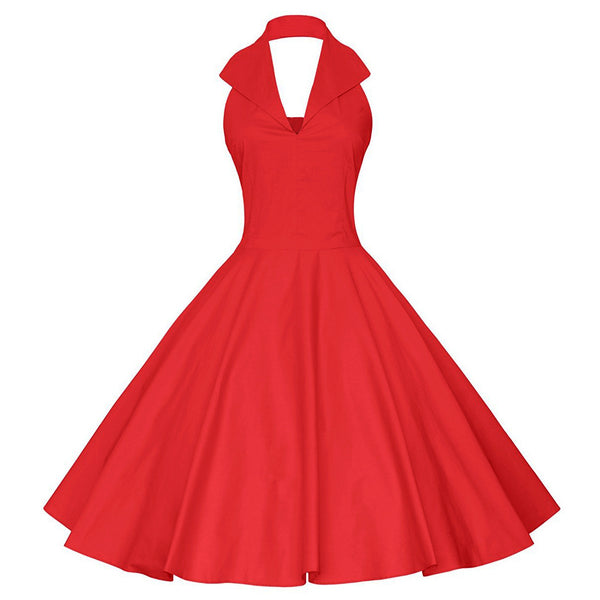 Women's Vintage Swing Dress - Solid Colored Backless Red Navy Blue L XL XXL
