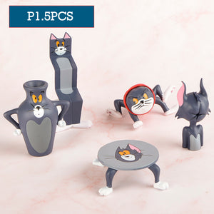 10pcs Genuine Funny Cartoon Animal Silly Cat Rat Mouse Figures Collection Blind Box Desktop Car Decoration Christams Gift