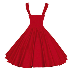 Women's Vintage Swing Dress - Solid Colored Red Navy Blue L XL XXL