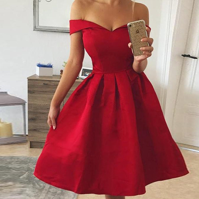 Women's Basic A Line Dress - Solid Colored Red M L XL