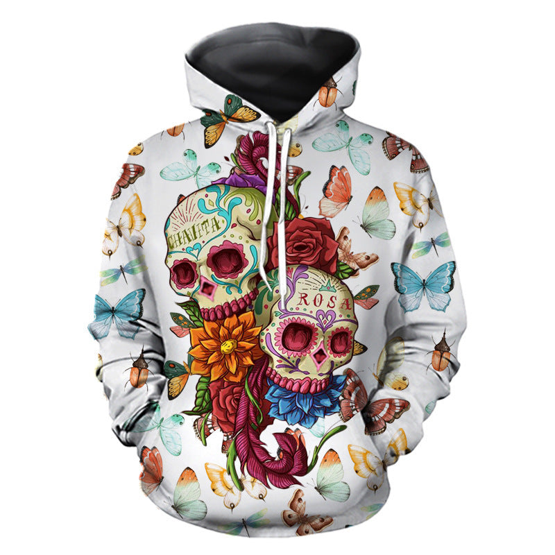 Men's Casual / Basic Hoodie - Color Block / 3D / Skull White