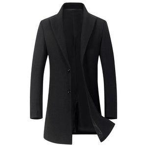 Men's Daily / Weekend Basic Fall / Winter Long Coat, Solid Colored Fantastic Beasts Notch Lapel Long Sleeve Wool / Polyester Black / Wine / Gray