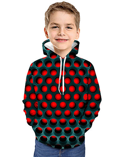 Kids Toddler Boys' Active Basic Geometric Print Color Block Print Long Sleeve Hoodie & Sweatshirt Red