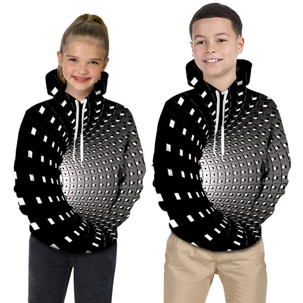 Kids Toddler Boys' Active Basic Rubik's Cube Geometric Galaxy Print Print Long Sleeve Hoodie & Sweatshirt Black