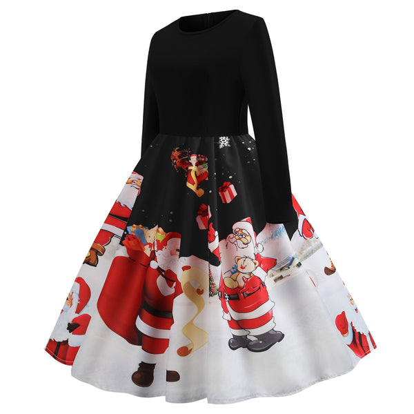 Women's Christmas Basic A Line Dress - Color Block Print Red