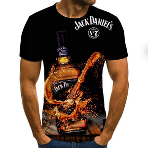 Men's Weekend Street chic Plus Size T-shirt - 3D / Cartoon / Letter Pleated / Print Round Neck Black / Short Sleeve