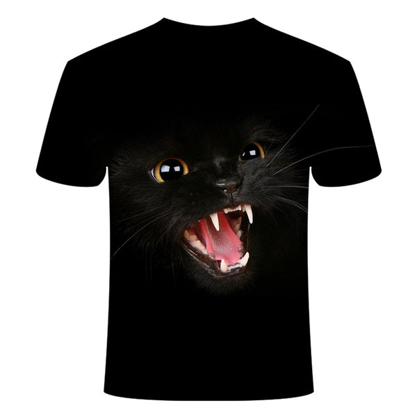 Men's Daily Holiday Street chic / Exaggerated T-shirt - Color Block / 3D / Animal Print Black