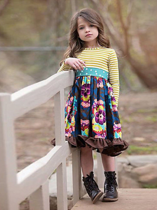 Kids Girls' Cute Floral Long Sleeve Knee-length Dress Navy Blue / Cotton