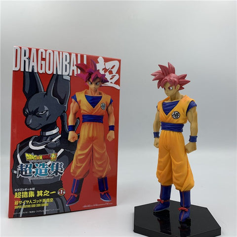 16cm Dragon Ball Z Movie Goku Red Hair Standing Ver. PVC Action Figure DBZ Goku VS God Movie Model Toy