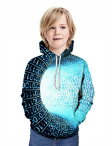 Kids Boys' Active Street chic Geometric 3D Patchwork Print Long Sleeve Hoodie & Sweatshirt Blue