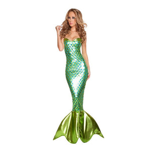 Mermaid Tail Aqua Queen Aqua Princess Cosplay Costume Party Costume Adults' Women's Christmas Halloween Carnival Festival / Holiday Terylene Green Carnival Costumes Vintage