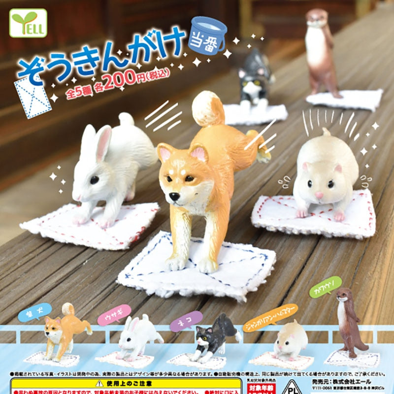 1pc Genuine gashapon capsule toy cute animals funny shiba inu otter bunny cat Hamster mop the floor blind box figure