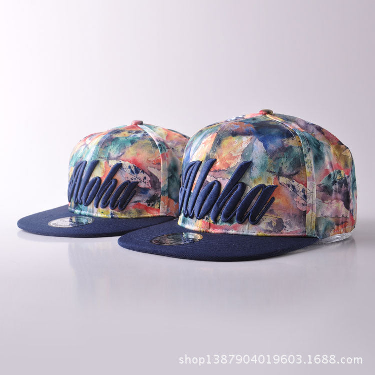 Autumn Parenting Hat Colour Tie-dyed Letter Embroidery Hip Hop Hats