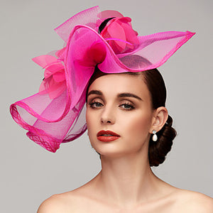 Feather / Net Kentucky Derby Hat / Fascinators / Headpiece with Feather / Floral / Flower 1pc Wedding / Special Occasion Headpiece