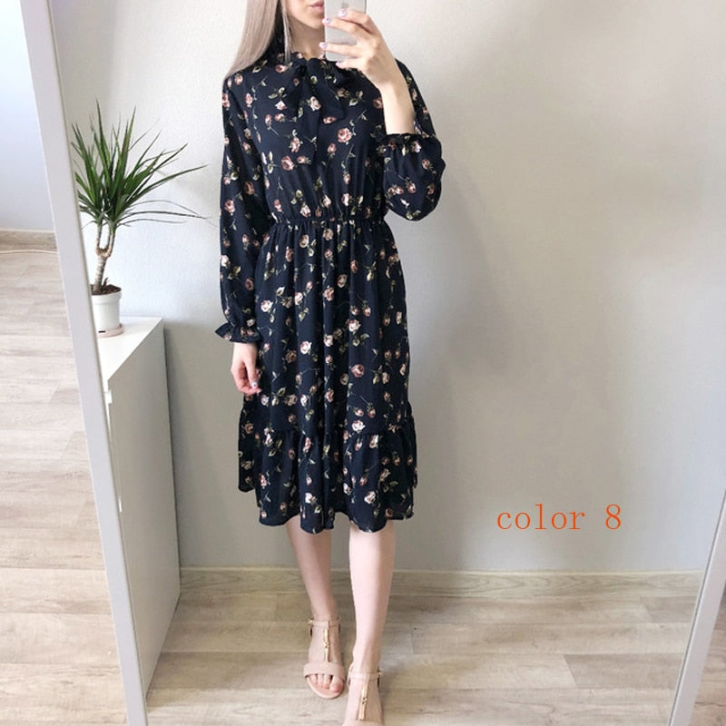 2020 Autumn Women Dress For Female Long Sleeve Chiffon Shirt Dress A-line Midi Winter Dress