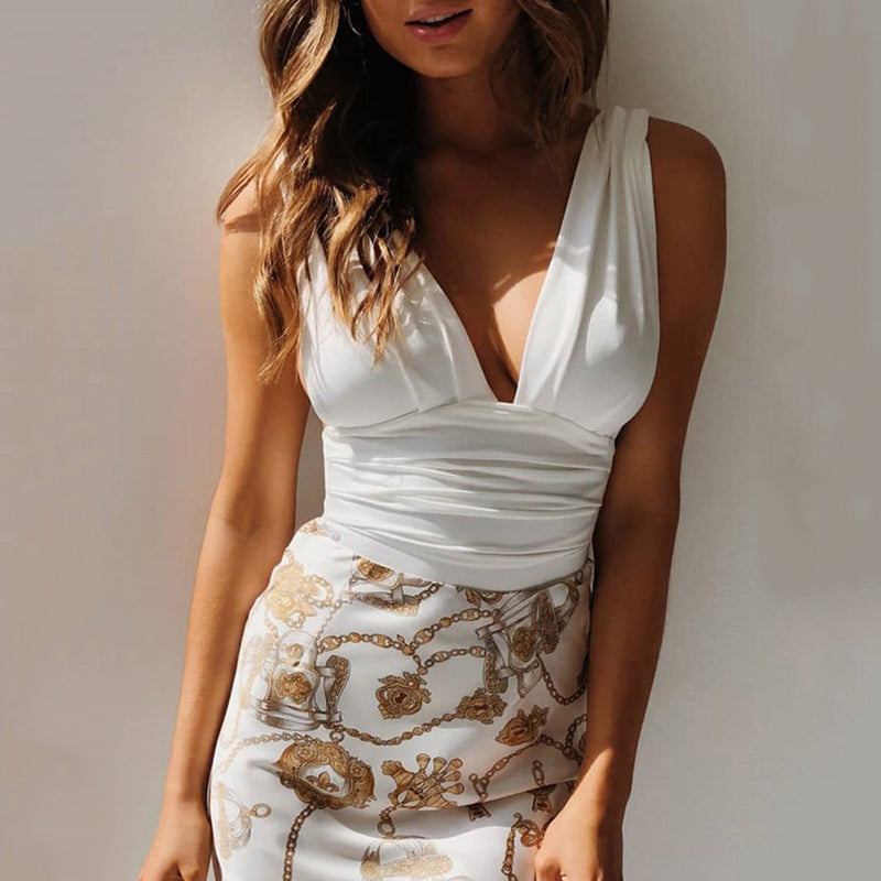 2020 Spring Dress New Fashion Dress Women Sleeveless V-neck Printed White XL
