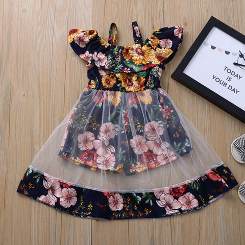 2020 fashion girls dress Toddler Kids Baby Girls Clothes Sleeveless Floral Ruffle Mesh Summer Dresses kids clothes vestidos t5
