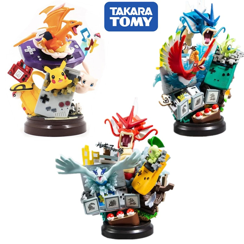 20CM POKEMON Gyarados Charizard Action Anime Figure Pikachu Game Console Cosplay Set one piece model collect Toy For Kids Gift