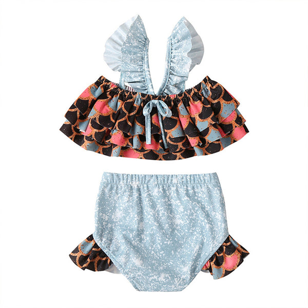 2PCS Baby Girls Mermaid Swimwear Summer Toddler Swimsuit
