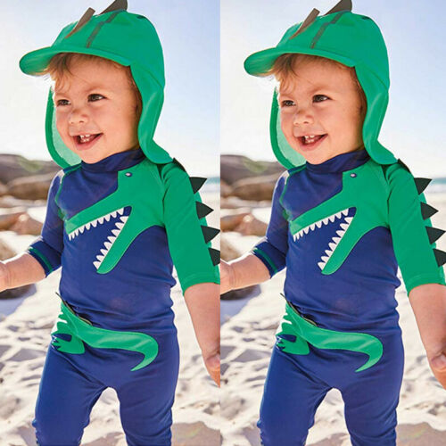 2Pcs Dinosaur Swimsuit Toddler Baby Kids Boy Dinosaur Swimwear Surfing Beachwear Sun Protection Children Bathing Suit