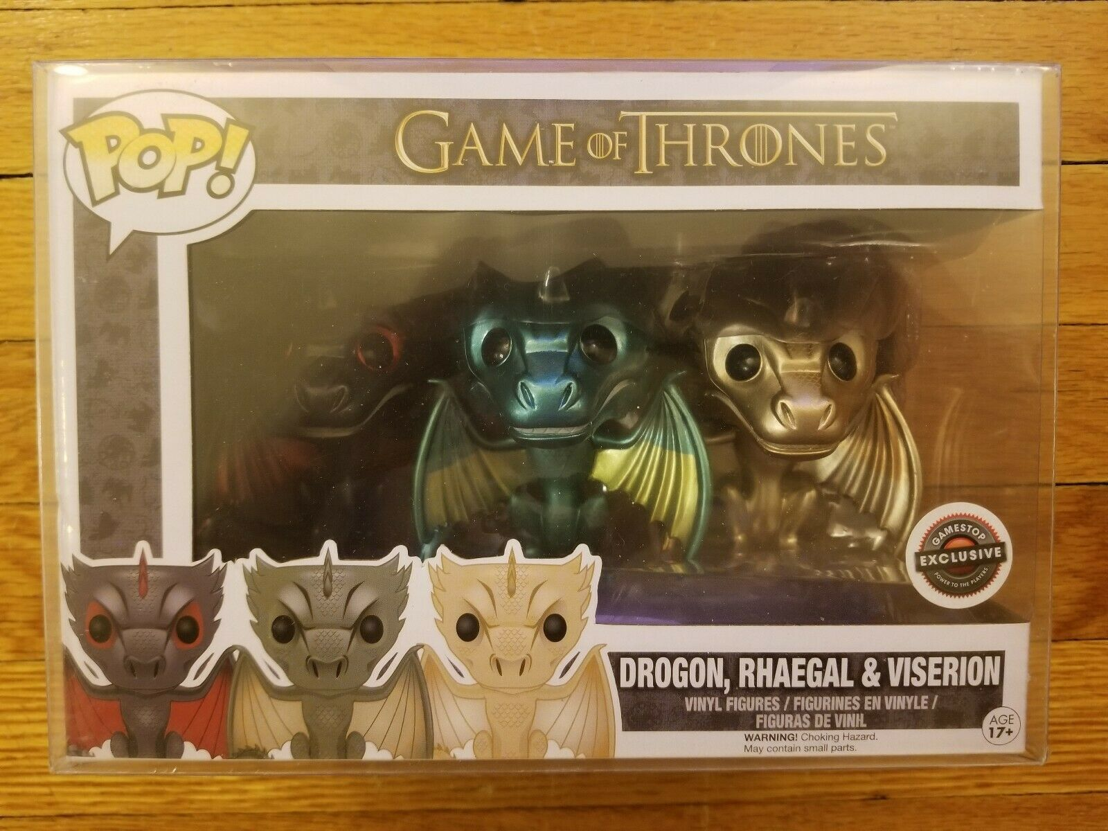 Game Of Thrones GoT Metallic Dragon Gamestop Exclusive Rhaegal Viserion Drogon