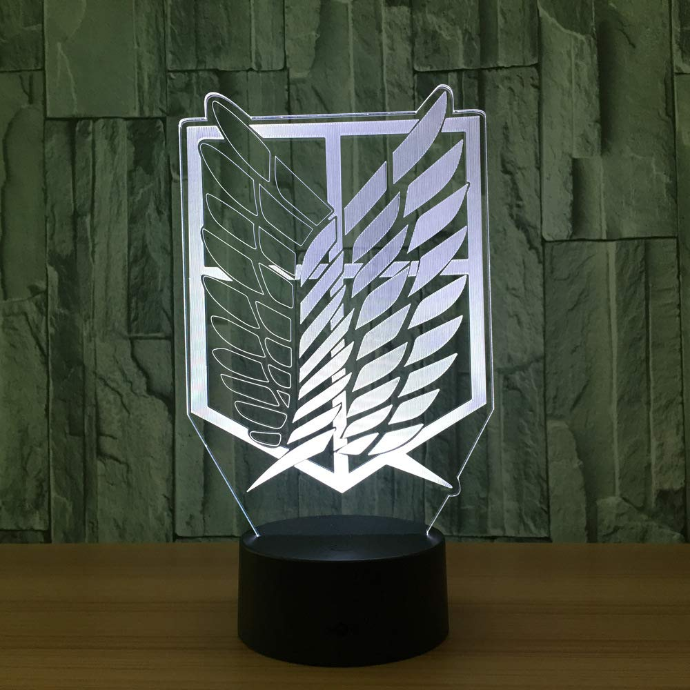 Nightlight Color Changing Home Decor Table Attack on Titan Badge 3D LED Lamp Novelty 3D Visual Night Light for Child Gift by Nightlight Color Changing Home Decor Table