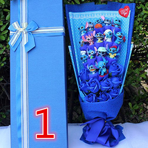 Soup Flower Stitch Plush Toys Anime Lilo and Stitch Model Stitch PVC Animal Dolls Kawaii Stich Bouquet Romantic Gift No Box