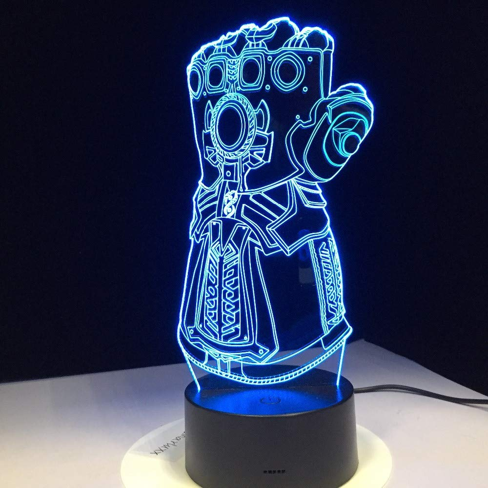 Thanos Infinity Gauntlet Avengers Infinity War Gloves 3D Night Lights Led Changing 3D Novelty Light Creative Desk Lamp