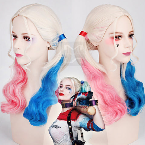 Suicide Squad Harleen Quinzel Pink and Blue Cosplay Party Wig (Pink and Blue)