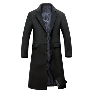 Men's Daily Basic / Sophisticated Winter Plus Size Long Coat, Solid Colored Notch Lapel Long Sleeve Wool Black / Gray