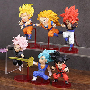 Dragon Ball Super Saiyans Bravery vol.1 Son Goku Vegetto Gogeta PVC Figures Toys 6pcs/set