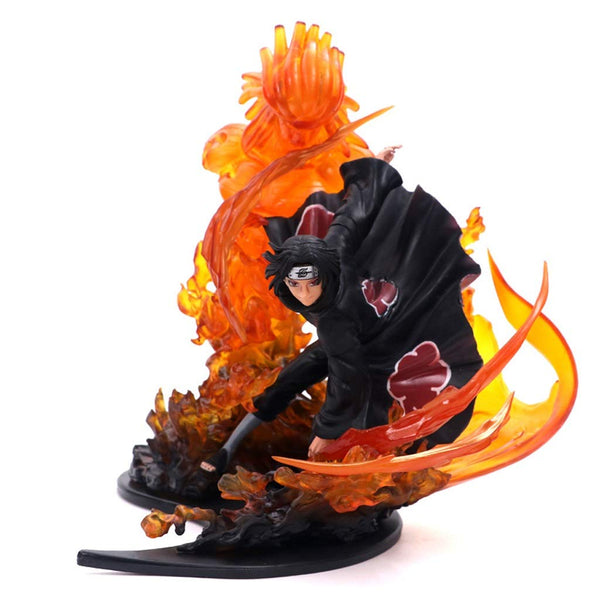 Naruto Flame Sasuke Boxed Hand-Made PVC Model Gift Collection Crafts Saint Statue Decoration (About 21CM) Boy Gift Anime Toys
